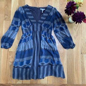 BCBG Blue Tribal Flowy Dress